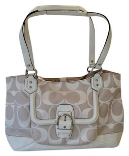 Coach Silver Hardware Carryall Abby C Logo Tote in Khaki/Parchment
