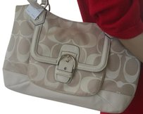 Coach Silver Tone Hardware Carryall Tote in Khaki/Parchment