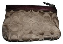 Coach Small Pouch Small Wallet Wristlet in red/brown monogram