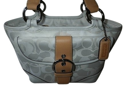 Preload https://item5.tradesy.com/images/coach-soho-small-tote-purse-white-tan-signature-jacquard-optic-c-leather-satchel-518029-0-0.jpg?width=440&height=440
