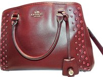 Coach Studded Margot Carryall F35221 Satchel in OXBLOOD