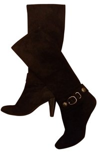 Coach Suede Silver Hardware Black Boots