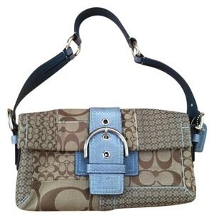 Coach Suede Snakeskin Leather Canvas Shoulder Bag