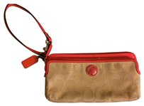 Coach Wristlet in Beige and Pink