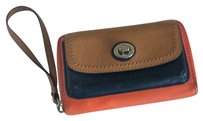 Coach Wristlet in Navy,orange And Tan