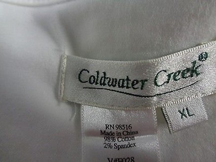 Coldwater Creek White Cotton Blend Open Front Casual Fit Jacket Sm1797 well-wreapped