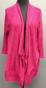 Coldwater Creek Polyester Q Sleeve Draped Open Front Cardigan Bb1178 Sweater