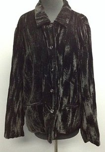 Coldwater Creek Coldwater Creek Black Rayon Blend Velvety Long Sleeve Lined Blazer Sm10759