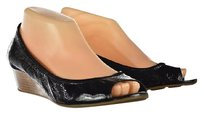 Cole Haan Womens Wedges Heels Open Toe Patent Leather Black Platforms