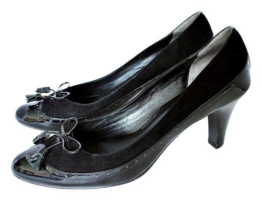 "Cole Haan Black Patent Leather Suede Rosetta B Retro Bow 3"" H Pumps Size US 10 Regular (M, B)"