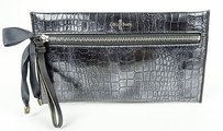 Cole Haan Cole Haan Black Croc Leather Masquerade Front Zip Clutch Wallet Purse Bag