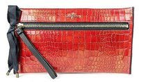 Cole Haan Cole Haan Red Croc Leather Masquerade Front Zip Clutch Wallet Purse Bag