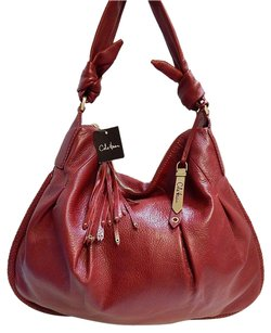 Cole Haan Rt Leather Pleated Tassel Square Hobo Bag