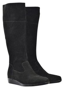 Cole Haan Womens Knee High B Suede Wedge Platform Black Boots