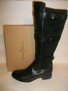 Cole Haan Leather Suede Straps Buckle Black Boots