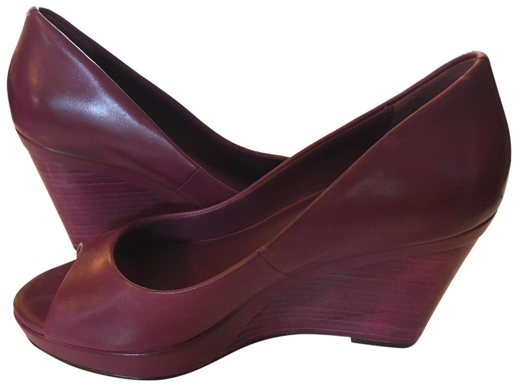 5a270a1f5 Cole Haan Magenta Shayna Leather Open Toe Pump Pump Pump Wedges Size US 8.5  Regular (M