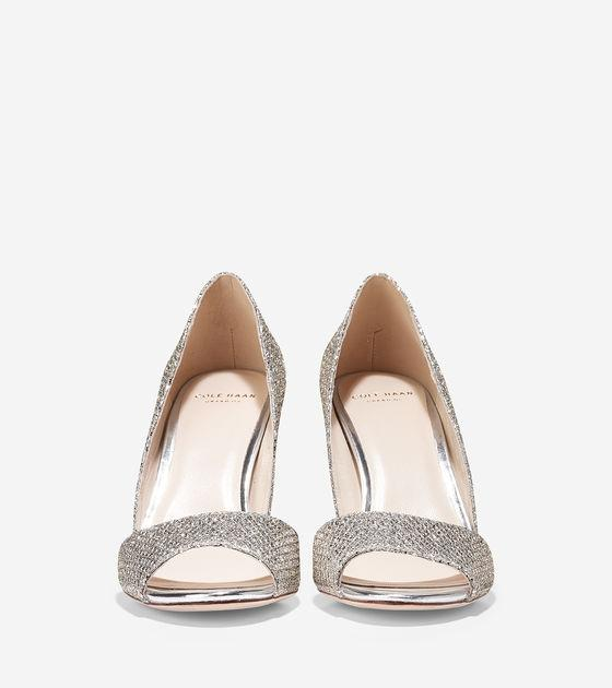 Cole Haan Platinum And Gold Peeptoe Glitter Formal Heels Pumps Size ...