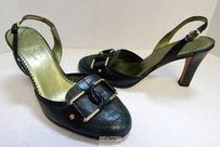 Cole Haan Croc Leather Slingback B Green Pumps