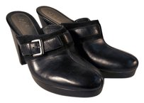 Cole Haan Suede Buckle black leather Mules