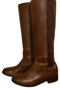 Cole Haan Tall Riding Stacked Heel Tall Pull Suede BROWN Boots