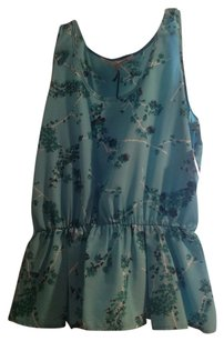 Collective Concepts Multi Color Pattern Flowers Top Blue Green