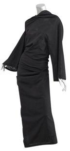 Black Maxi Dress by COMME des GARÇONS Chiffon Draped Ruched Maxi