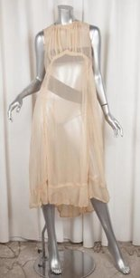 COMME des GARÇONS short dress Beige Womens Nude Sheer Chiffon Sleeveless Shift on Tradesy