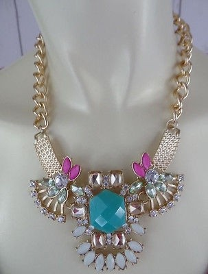 Other Costume Jewelry Necklace Chunky Chain Choker Rhinestone Faux Gem Flower Chic ... & Costume Jewelry Necklace Chunky Chain Choker Rhinestone Faux Gem ...