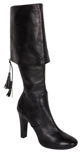 CoSTUME NATIONAL Womens Leather Foldover Black Boots