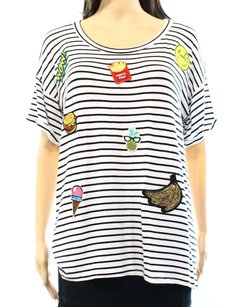 Cover Stitched Embellished-tee Et60930b New With Tags Rayon 3525-0580 T Shirt