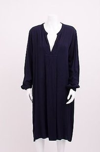 CP Shades short dress Blue Cp Navy Long Sleeve V Neck Drape Tunic Woven Wool Midi Shift on Tradesy