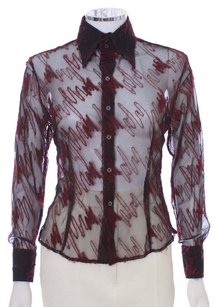 Craig Taylor Distressed Wool Nylon Embellished Sheer Button Down Shirt Black and Red