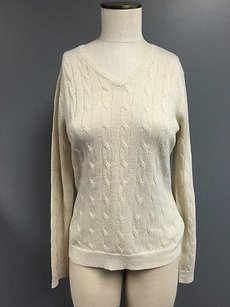 Croft & Barrow Metallic Cableknit V Neck Long Sleeve Sma2108 Sweater