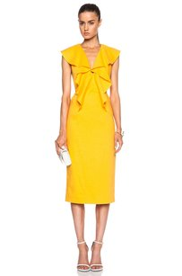 Cushnie et Ochs Marigold Stretch Linen Ruffle Butterfly 0 Dress