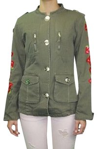Custo Barcelona Woven Novelty Embroidered 30958rm Army Green & Multi color Jacket