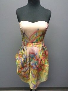 Cynthia Rowley short dress Pink Yellow Purple Red Cotton Blend Strapless Tea Sma3072 on Tradesy