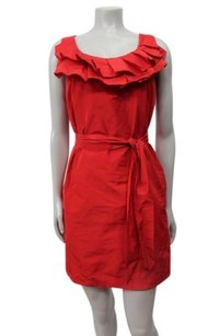 Cynthia Steffe short dress Red Cynthia Pleated Ruffle Neckline on Tradesy