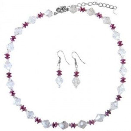 Clear Daisy Spacer Crystals W/ Fuschia Immitation Crystals Jewelry Set