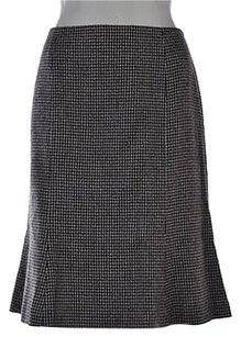Dana Buchman Womens Black A Line Wool Houndstooth Skirt Multi-Color
