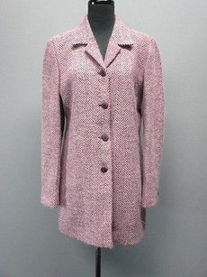 Dana Buchman Plum Wool Long Sleeves Lined Button Front Sm967 Coat