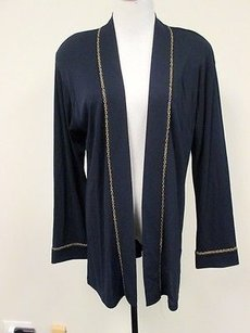 Dana Buchman Dana Buchman Navy Blue Rayon Long Sleeves Solid Open Front Blazer Top Z050