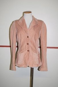 Dana Buchman Dana Buchman Pink Cotton Long Sleeve Button Velvet Blazer 21721