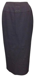 Dana Buchman Navy Wool Lined Laced Waist Accent Pencil Sma 6878 Skirt Blue