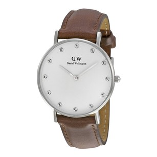 Daniel Wellington Classic St Mawes White Dial Brown Leather Ladies Watch 0960DW