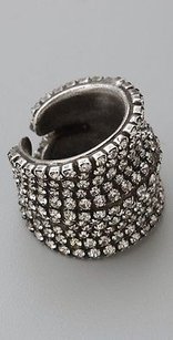 DANNIJO Dannijo Coco Oxidized Brass Crystal Ring Antique Silver