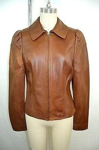 David Meister Distressed Leather Brown Jacket