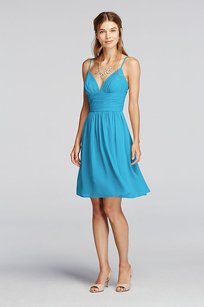 David's Bridal Malibu Chiffon Short Spaghetti Strap Deep V Crinkle #f19209 Modern Bridesmaid/Mob Dress Size 2 (XS)