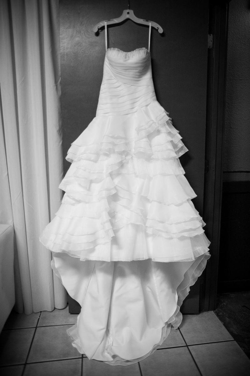 tiered wedding dress david s bridal organza tiered gown with asymmetrical 7997