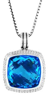 David Yurman Albion Pendant Enhancer with Blue Topaz and Diamonds, 17 mm