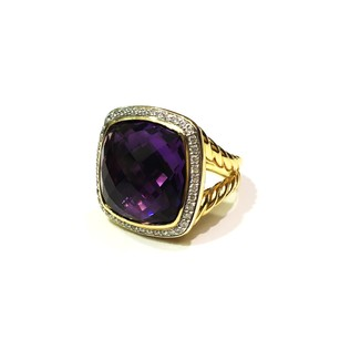 David Yurman Albion Ring with Amethyst and Diamonds in 18K Gold